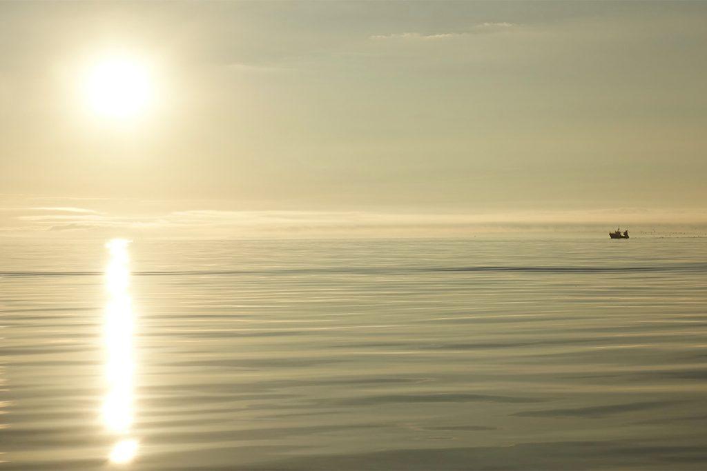 glare at sunrise and sunset